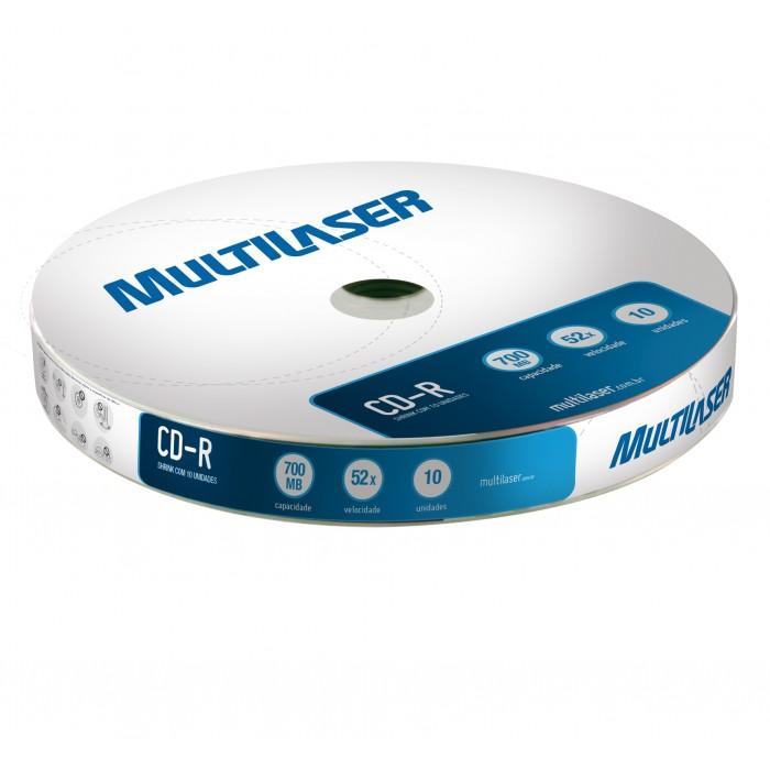 Mídia Multilaser CD-R Shrink Vel. 52x - 10 unidades CD027