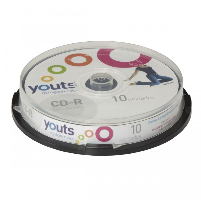 CD-R Youts Printable White - Cake com 10 discos