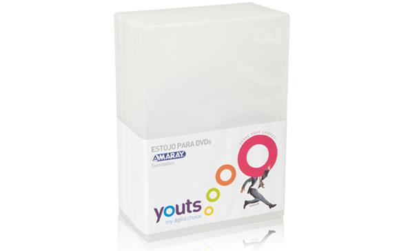 Embalagem para DVD Amaray Youts Transparente - Pack com 5
