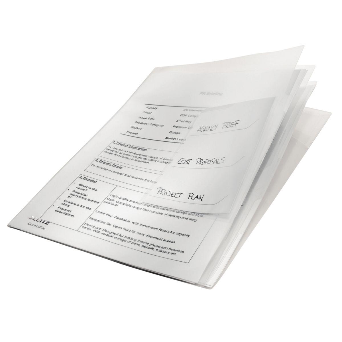 Pasta L Organizadora Esselte Leitz Combifile Branco Cristal 3x20 fls com 3 unid. 63484