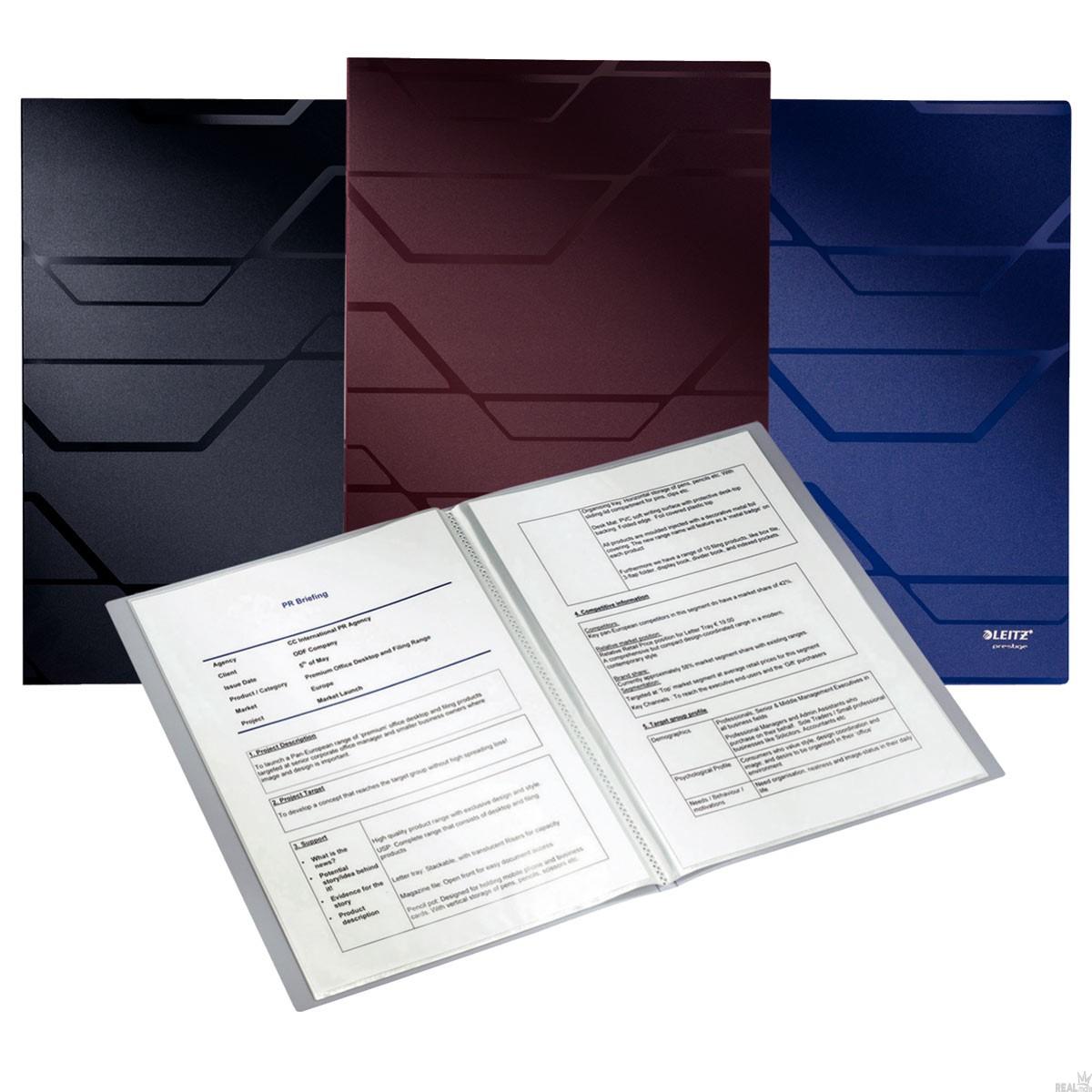 Pasta Catálogo Esselte Leitz Prestige Azul com 20  Plásticos 63508