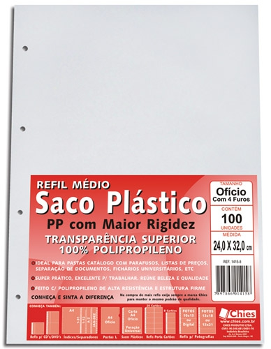 Saco Plástico Chies - 4 furos - espessura média - Cristal Liso - 100 unidades - Ref.: 1415-8