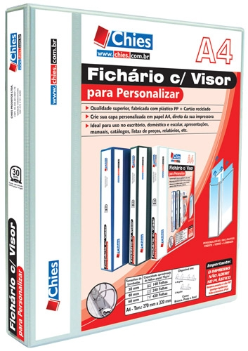 Fichário Chies com Visor para Personalizar - 2 Argolas - A4 - Branca - Ref.: 1888-0