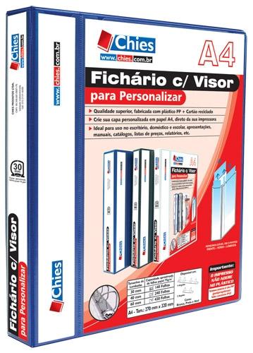 Fichário Chies com Visor para Personalizar - 4 Argolas - A4 - Azul Royal - Pref.: 1893-4