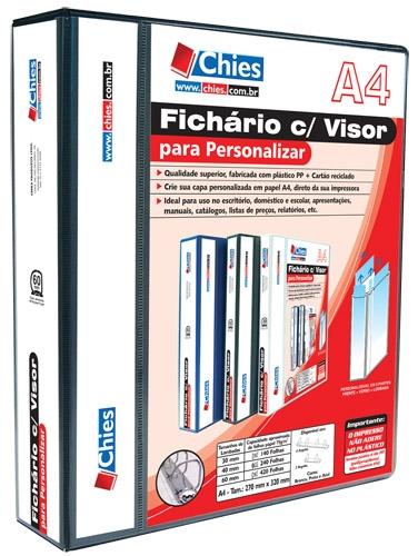 Pasta Fichário Chies Visor para Personalizar 4 Argolas A4 Preta Ferragem 40 D 1401-1