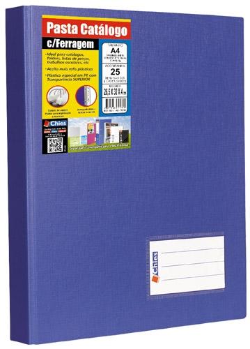 Pasta Catálogo com Ferragem Chies A4 25 Refis 2 Porta Cartões Azul Royal 1173-7