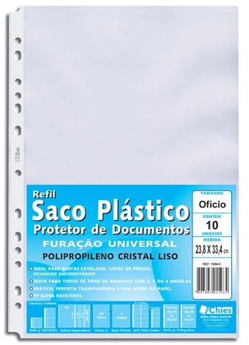 Protetor de Documentos Chies Furação Universal Of Cristal Liso 10 Unid 1594-0