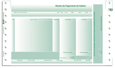 Recibo Pagamento Salário Chies LAB2 1752-4 Sem Envelope com Carbono 02 Vias Verde Caixa 2.000 jogos