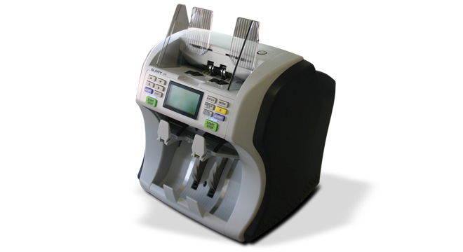 Contadora e Validadora de Cédulas Gerbô GFR220 - Detecta nota falsa, Separação por denominação, Conta até 1.000 notas por minuto, Conexão com PC ou Impressora