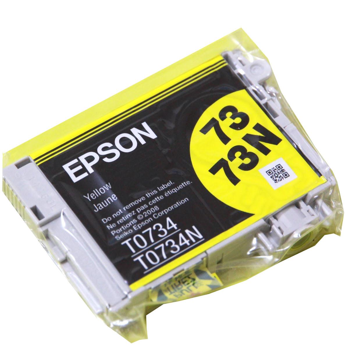 Cartucho Epson TO734 Original Amarelo Blister para os modelos C79 C3900 CX4900 CX5900 CX6900 CX7300 CX8300 TX200 TX210 TX220 TX300F TX400 TX410