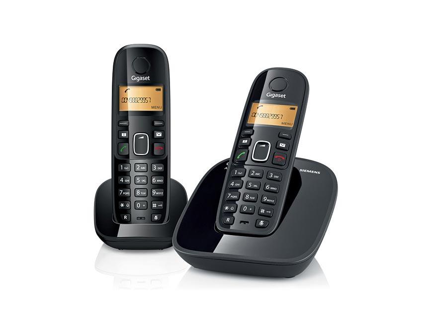 Telefone sem Fio com Identificador de Chamadas Ramal Siemens Gigaset A390 Duo Preto