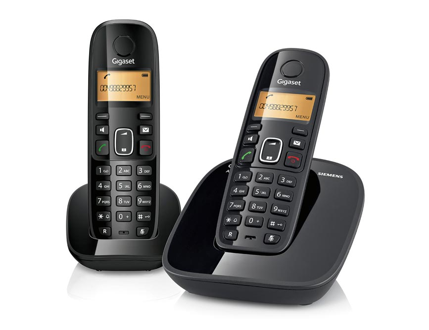 Telefone sem Fio Gigaset A490 Duo Preto DECT 6.0 com Viva-Voz, Id. Chamadas, Teclado Luminoso, base + ramal