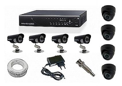 Kit CFTV Yub - DVR, 4 Câmeras Infra com 24 Leds, 100 metros de Cabo, Fonte, Conectores