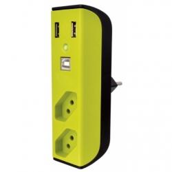 Filtro Protetor Enermax Bem Ligado 2 Tomadas, 2 Carregadores USB, Hub Verde