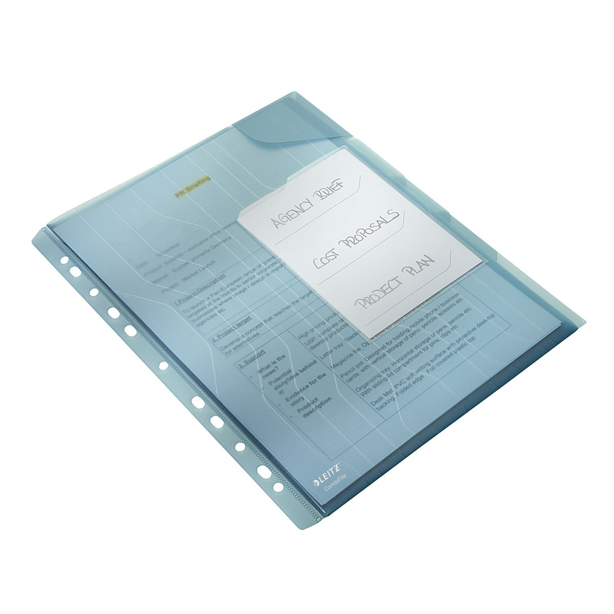 Pasta L Organizadora Esselte Leitz Combifile Azul 3x20 fls com 3 unid. 63485
