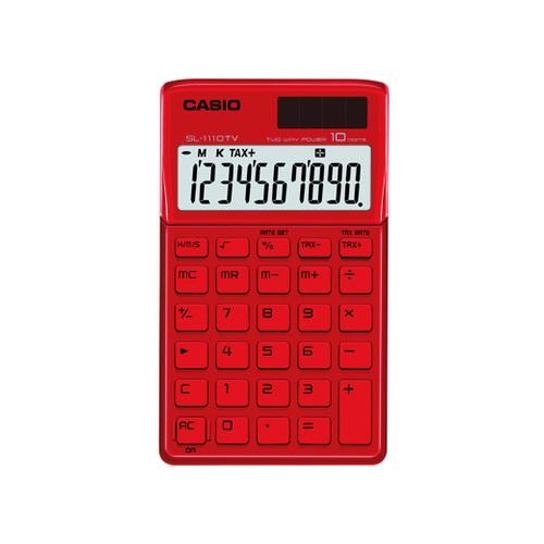 Calculadora Casio Sl-1110 Tv-Rd Vermelho Alimentação Solar e Pilha