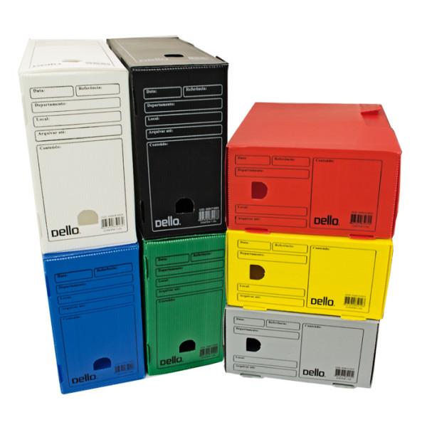 Caixa de Arquivo Morto Oficio Polidello Dello Preto 0326 Com 25 Unidades