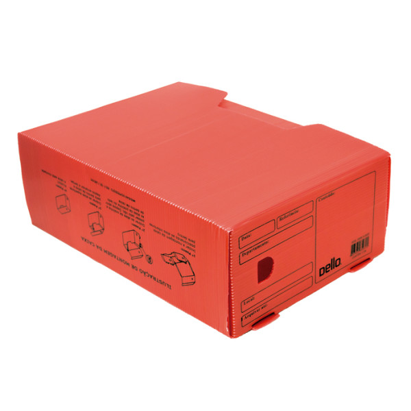 Caixa de Arquivo Morto Oficio Polidello Dello Vermelho 0326
