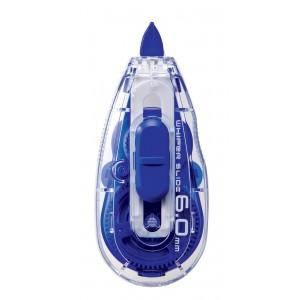 (FORA DE LINHA) Corretivo em Fita Whiper Slide Plus Japan - 5mm e fita de 12 m, cabeca retratil e fita c/ refill, cor azul