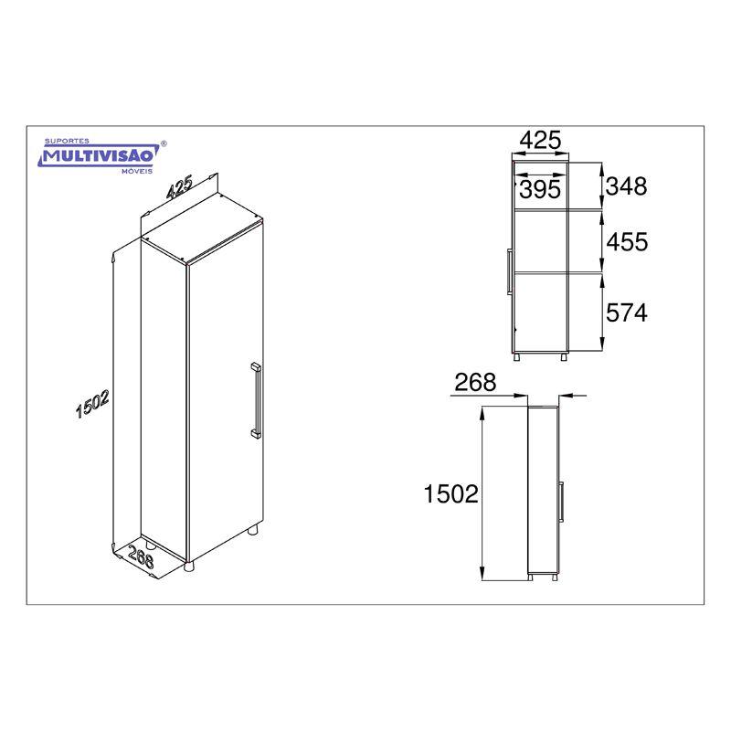 Armário Multivisão AS 636 UV  para lavanderia com porta Branco