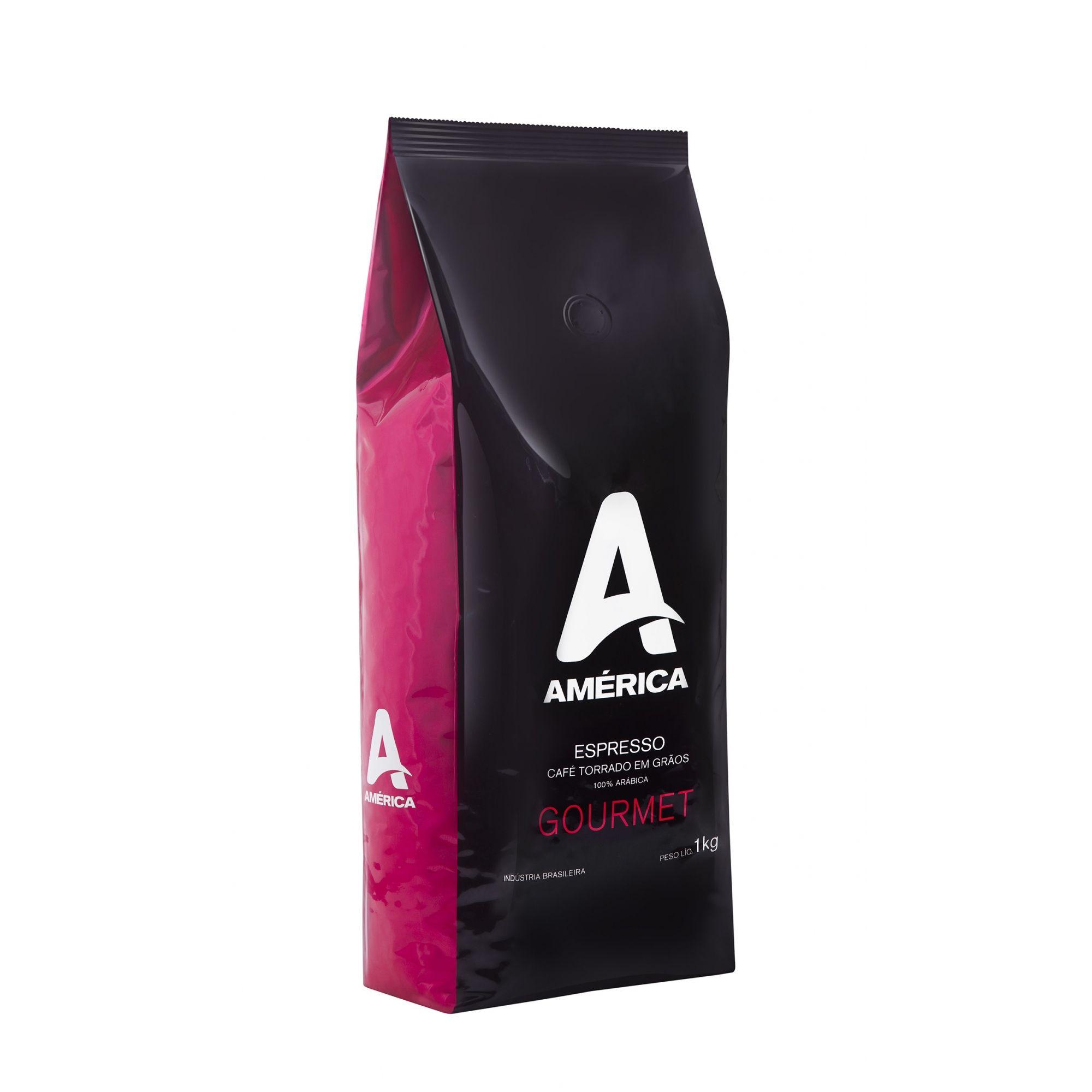 Café América Gourmet em Grãos 1kg Arábica com Torra Média
