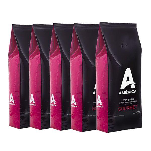 Café América Gourmet em Grãos 5kg Arábica com Torra Média