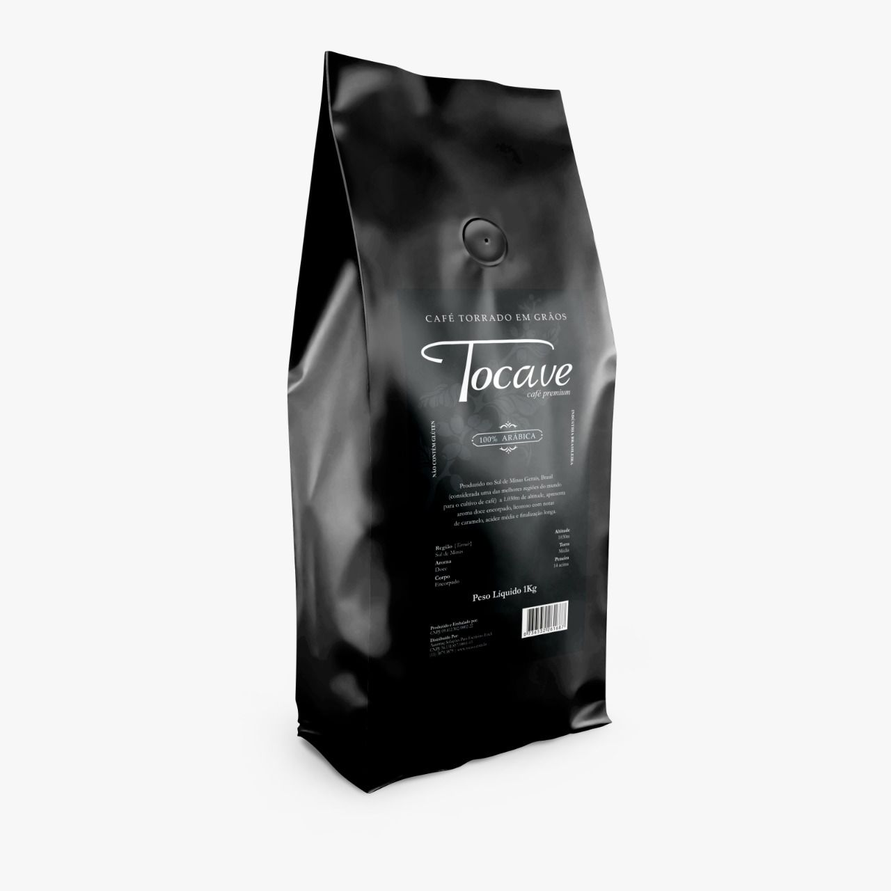 Café em Grãos Tocave Premium 5 kg Arábica com Torra Média (Caixa com 5 pacotes de 1 Kg)