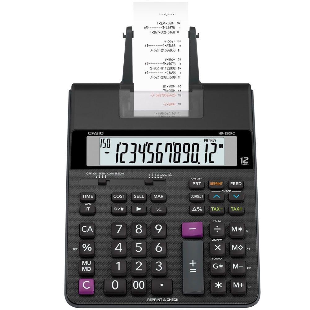 Calculadora com Bobina Casio Hr-150Rc Adaptador Bivolt Impressão Bicolor 12 Díg