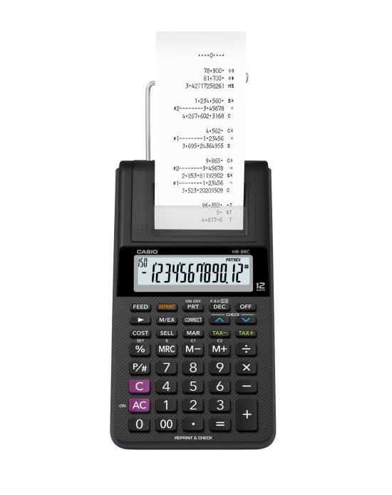 1e914538b72 Calculadora com Bobina Casio Hr-8Rc-Bk Preta 12 Díg Adaptador Bivolt  Incluso ...
