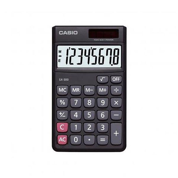 Calculadora de Bolso Casio Sx-300-W-Dp 8 Díg Solar e Bateria Preta