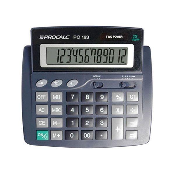 Calculadora de Mesa Procalc Pc123 12 dígitos Solar e Bateria Visor inclinável