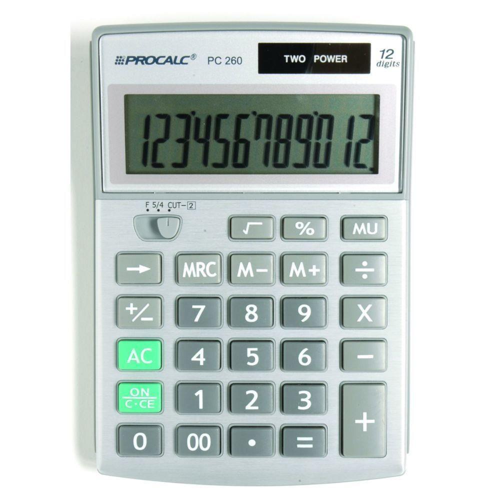 Calculadora de Mesa Procalc Pc260 12 Dígitos Grandes Frente Metalizada Solar/Bateria