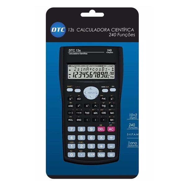 Calculadora Dtc 13S Científica com 240 Funções 10+2 Dígitos