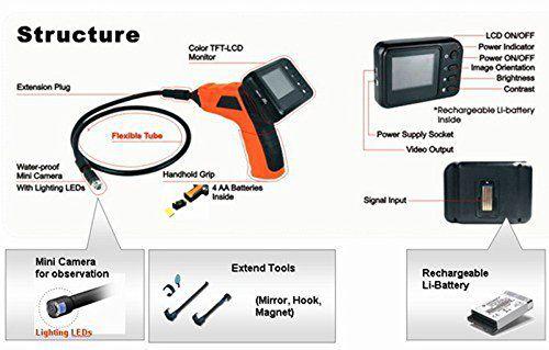 Câmera de Inspeção Wireless Worldcam 8802AJ Monitor LCD Color Outlet
