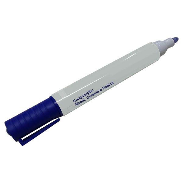 Caneta Pincel para Quadro Branco Azul Caixa com 12 Unidades