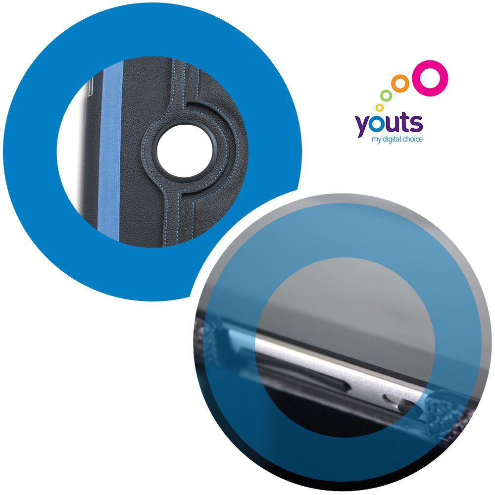 Capa de Couro Sintético para Pad 2 e 3 Youts Iturn 360 Azul