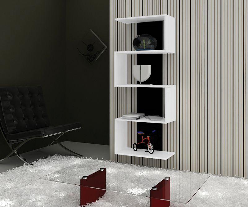 Estante Livreiro Multivisão Life Branco com Preto com Design Moderno