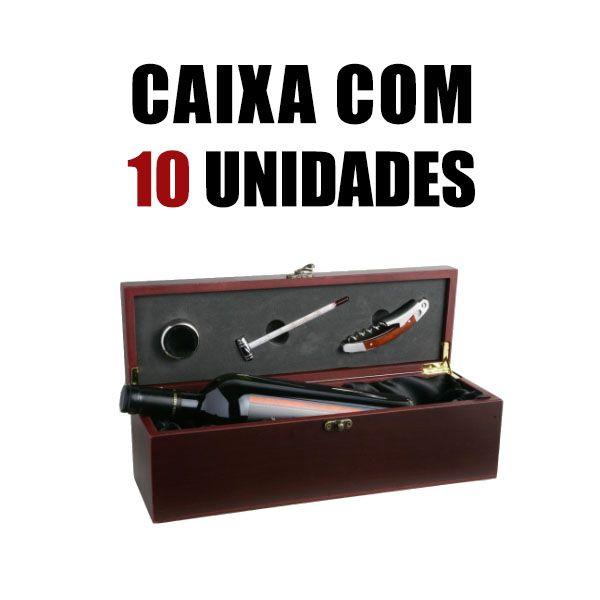 Estojo para Vinho com Acessórios Kit Porta Garrafas Tocave Cx Master 10 Unid