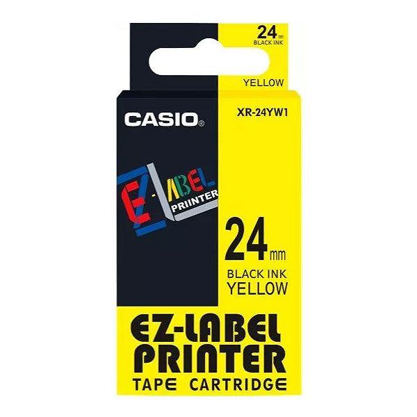 Fita Rotuladora Casio Xr-24Yw1 24mm Preto no Amarelo para Etiquetadora Kl