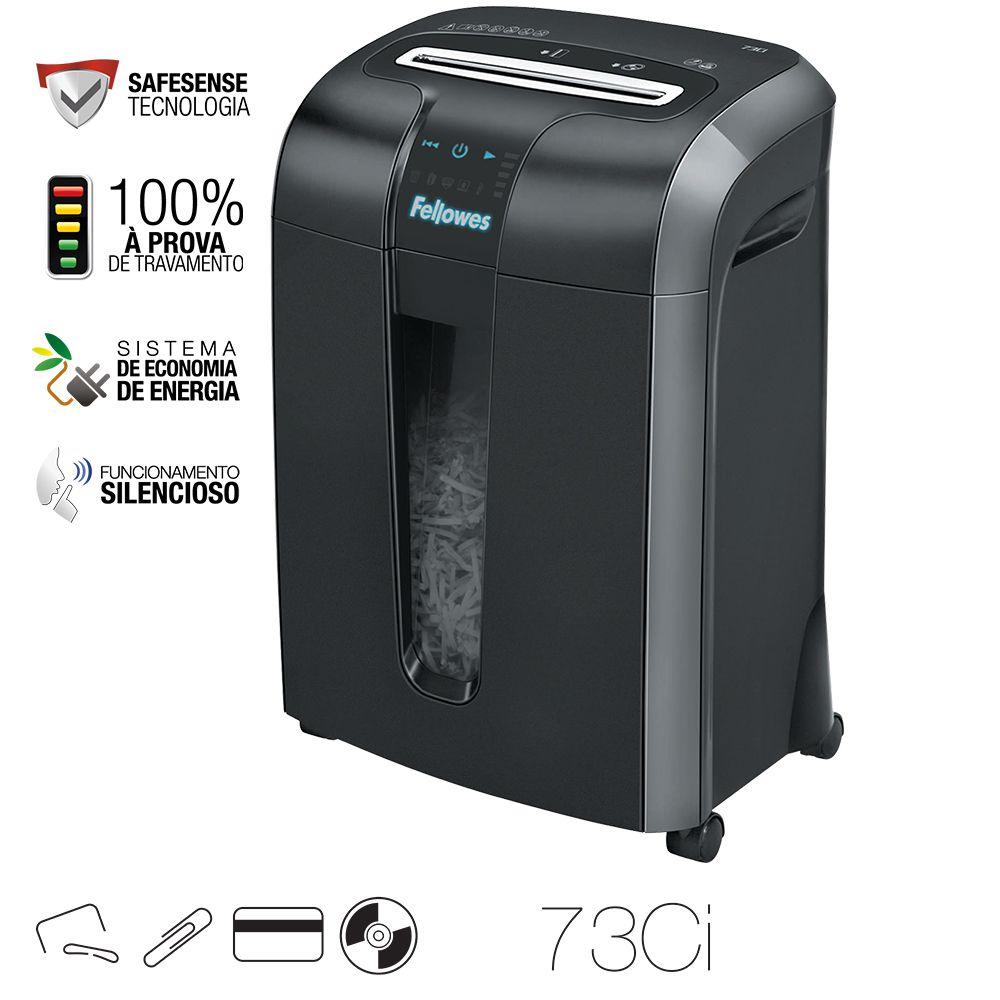 Fragmentadora de papel Fellowes 73CI 220v corta 12 folhas partículas Uso 10 min 23L