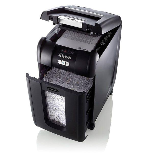 Fragmentadora de Papel Swingline 300X 110V Automática Corta 300fls partículas Clips DVD 40L Uso Contínuo de 18 mínutos