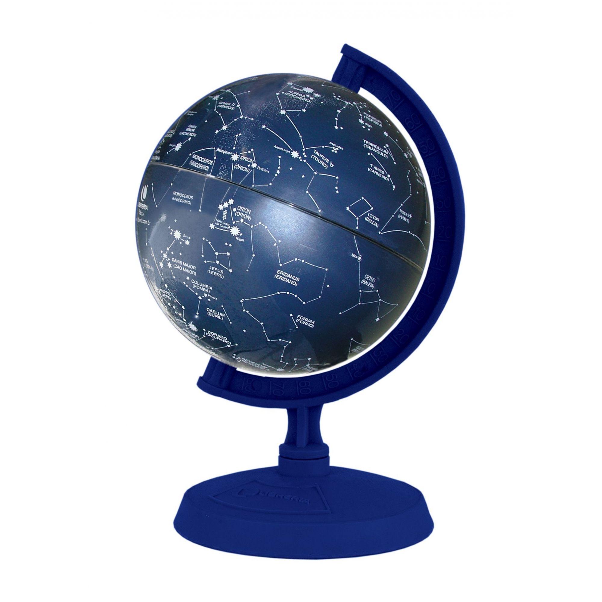 Globo Celeste Libreria 10cm Cielo 312102 Principais Estrelas Base Plástico Azul Royal