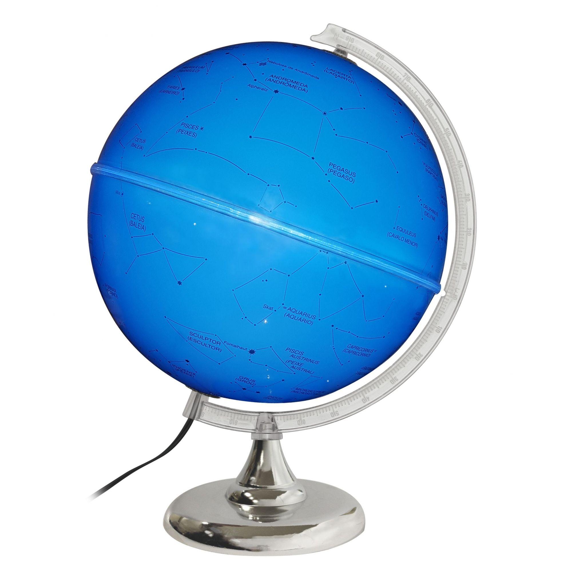 Globo Celeste Libreria 30cm Cielo 30I-Azul-Lb/Bs-Cro. 313055 Estrelas Bivolt Base Cromada