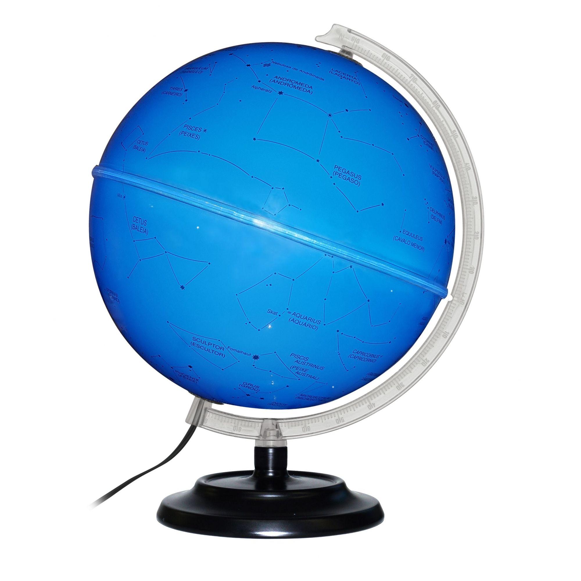 Globo Celeste Libreria 30cm Cielo 30I-Azul-Lb/Bs-F 313048 Estrelas Bivolt Base Ferro Preta