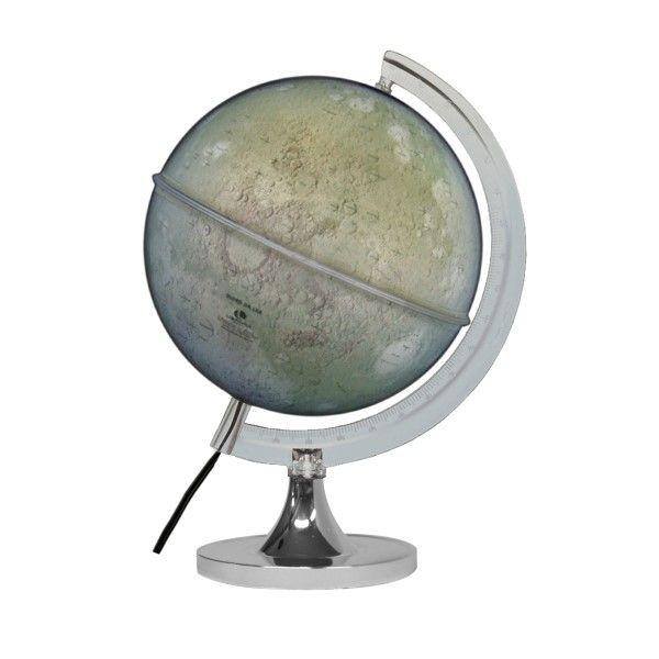 Globo Lunar Libreria 21cm Lua Cinza-I-Lb/Bs-Cro 313239 Crateras Montes Bivolt Base Cromada