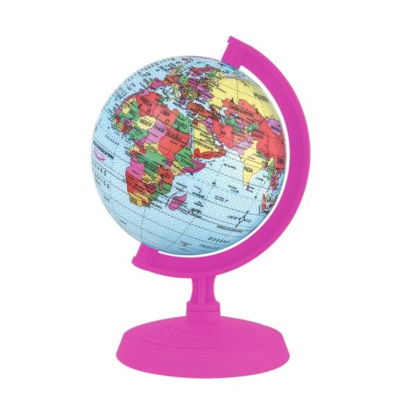 Globo Terrestre Libreria 10cm Baby Rosa Pink 313994 Politico Base e Régua Plástico