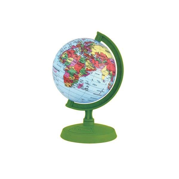 Globo Terrestre Libreria 10cm Baby Verde 310047 Politico Base e Régua Plástico