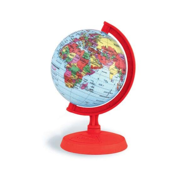 Globo Terrestre Libreria 10cm Baby Vermelho 310030 Politico Base e Régua Plástico