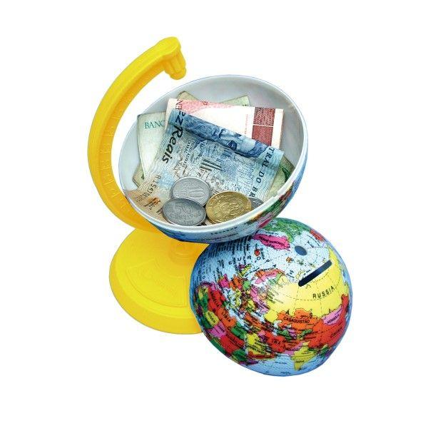 Globo Terrestre Libreria 10cm Millenium Amarelo 310061 Politico Base Plástico Cofrinho