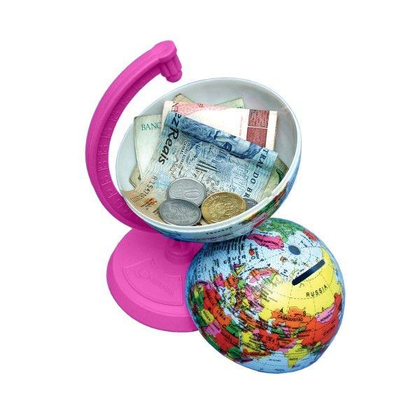 Globo Terrestre Libreria 10cm Millenium Rosa Pink 311693 Politico Base Plástico Cofrinho